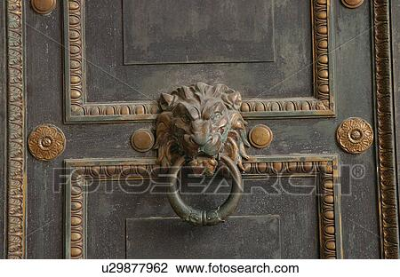 Close Up Of An Ornate Door Knocker On A Door, Havana, Cuba