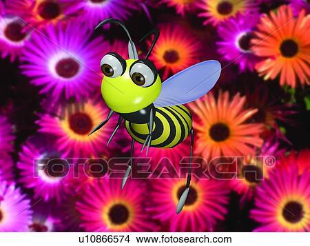 Archivio fotografico cartone animato animale fiore - Animale cartone animato immagini gratis ...