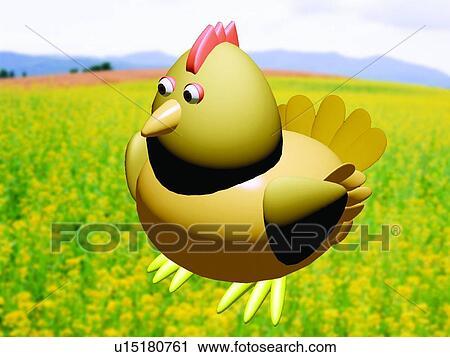 Archivio fotografico fiore 3d animale gallina - Animale cartone animato immagini gratis ...