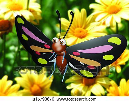 banque d 39 images 3d papillon dessin anim mignon animal u15793676 recherchez des photos. Black Bedroom Furniture Sets. Home Design Ideas