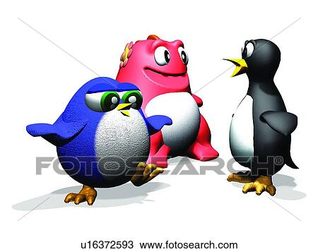Archivio fotografico 3d pinguino cartone animato - Animale cartone animato immagini gratis ...