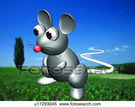 Stock image of cartoon mouse 3d field animal cute for Field mouse cartoon