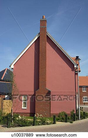 Stock Photograph Of Chimney On The Side Of A Modern House