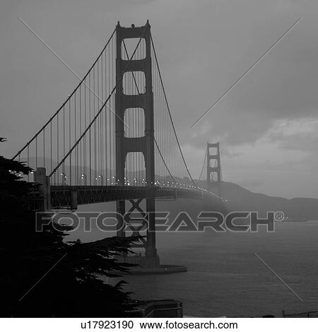 Stock Photography Of Black And White Image Of Golden Gate