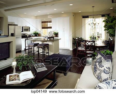 Archivio fotografico elegante soggiorno cucina e for Sala da pranzo e soggiorno