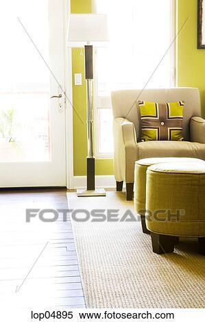 Stock Bild - wohnzimmer, sessel, in, grün, und, braun lop04895 ...