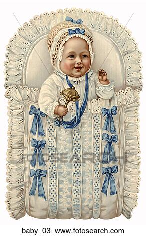 Drawing Of Victorian Die Cut Illustration Of A Baby With