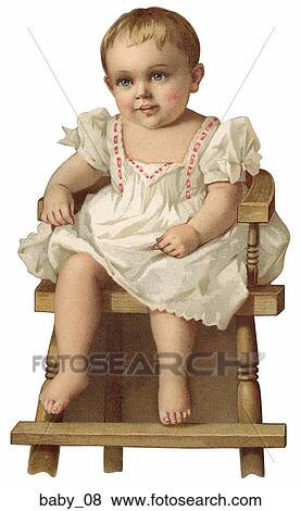 Stock Illustration of Victorian Die Cut Illustration of a Baby in ...