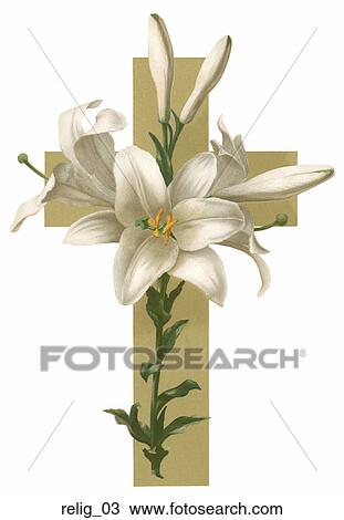 Drawing of Victorian Easter Illustration: White Lilies on a Gold ...