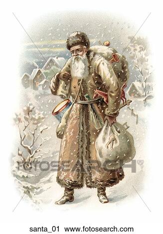 of Santa Walking in the Snow with Presents santa_01 - Search Clip Art ...