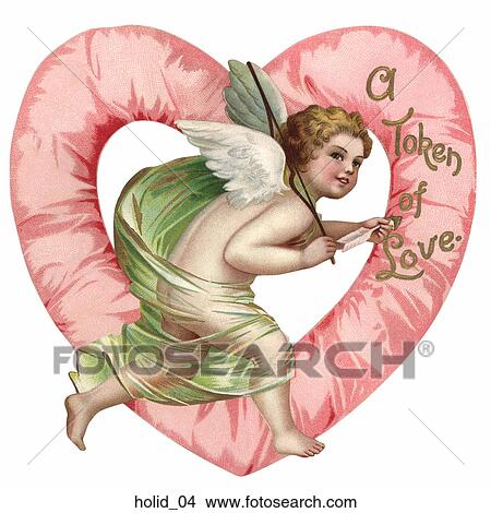 Drawing   Victorian Valentine Illustration Of Cupid In Front Of A Heart .  Fotosearch   Search