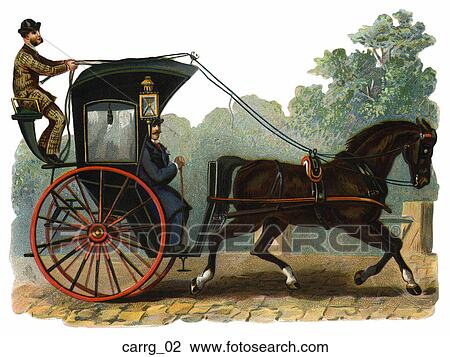 Clip Art Of Victorian Die Cut Illustration Of A Horse And