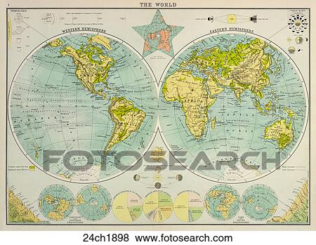 Stock illustration of antique world map chromolithograph 1898 antique world map chromolithograph 1898 gumiabroncs Images