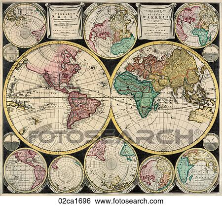 Stock illustration of antique world map hand colored copper stock illustration antique world map hand colored copper engraving1696 gumiabroncs Gallery