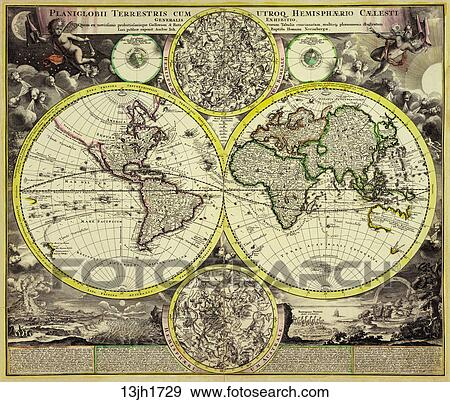 Stock illustration of antique world map hand colored copper antique world map hand colored copper engraving 1729 gumiabroncs Images