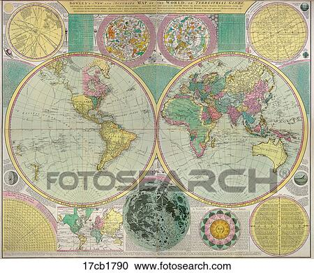 Stock illustrations of antique world map hand colored engraving antique world map hand colored engraving 1790 gumiabroncs Images