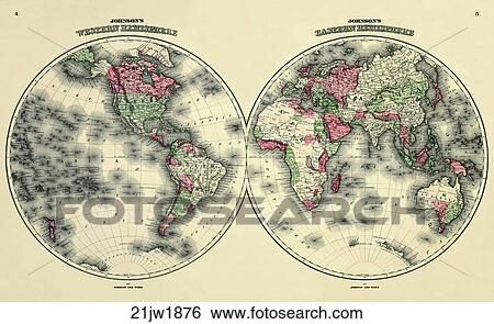 Stock illustration of antique world map hand colored wood engraving antique world map hand colored wood engraving 1876 gumiabroncs Images