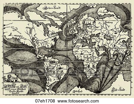 Stock illustration of antique world map wood engraving 1687 stock illustration antique world map wood engraving 1687 1708 gumiabroncs Gallery