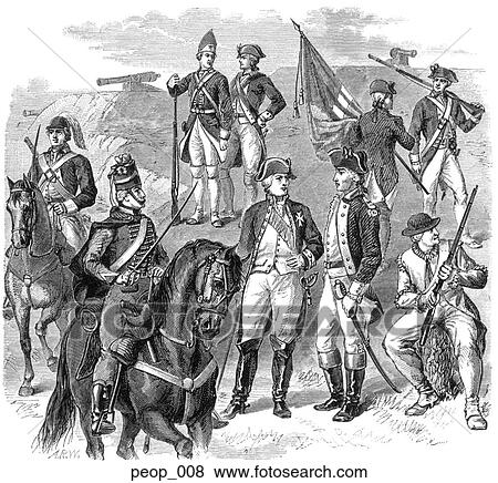 Stock Illustration - Revolutionary War Military Uniforms (French and American). Fotosearch - Search EPS Clip Art, Drawings, Wall Murals, Illustrations, and Vector Graphics Images