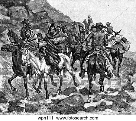 Clipart of Cowboys and Indians Meeting. Illustration by Frederic ...