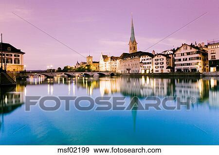 Banque de photographies suisse zurich vue ville for Piscine zurich