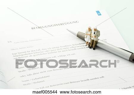 Stock Photo Of Figurines Standing On Pen With Advance Directive