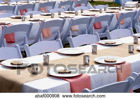 usa, texas, réception mariage, décoration, et, table, installation ...
