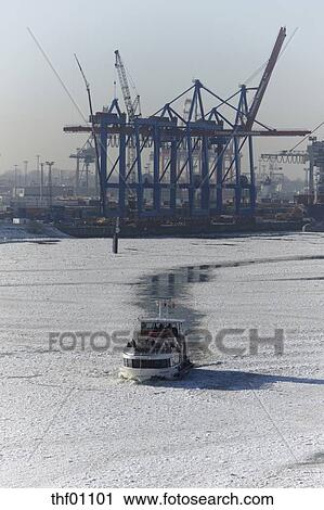 Stock Photography of Germany, Hamburg, Ice breaker moving ahead ...