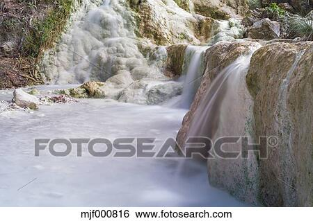 Stock Images of Italy, Tuscany, Val d\'Orcia, Bagni San Filippo, Hot ...