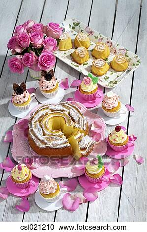 Stock Photography of Birthday cake, cupcakes, muffins and flower vase ...
