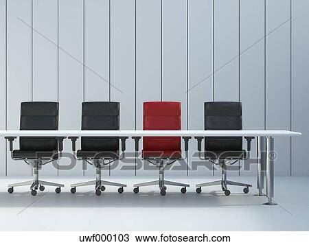 Stock Photo Of Four Office Chairs And Conference Table In Front Of - Conference room table and chairs clip art