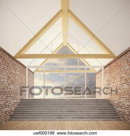 Stock fotograf leeres zimmer mit dach balken stufe for Leeres zimmer