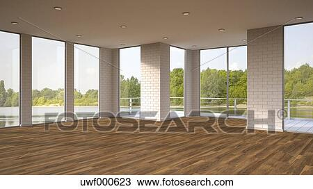 empty room with wooden floor and view to a lake 3d rendering uwf000623 westend61 photograph royalty free