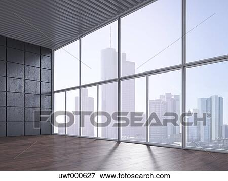 empty room with wooden floor concrete wall and view at skyline 3d rendering uwf000627 westend61 photograph royalty free