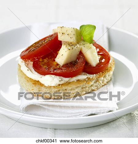 Stock photography of canape with tomato and mozzarella for Mozzarella canape
