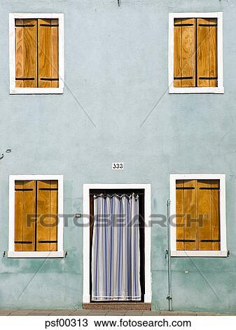 Stock Photo of Italy, Venice, Burano, House facade, closed ...