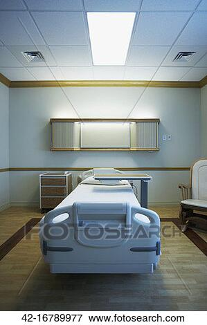 Empty hospital bed cartoon
