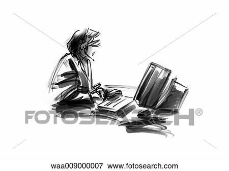black and white illustration work office secretary secretariat