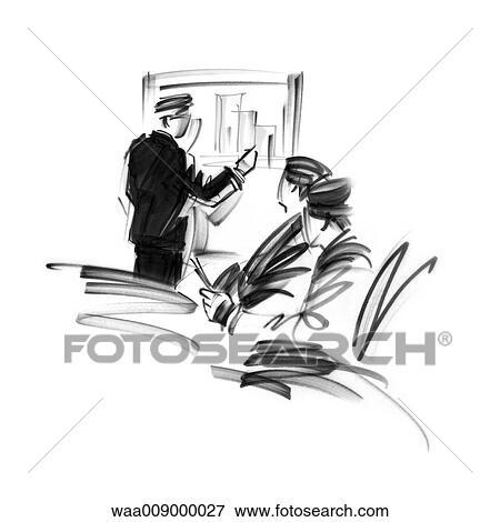 banque d 39 illustrations dessin noir blanc illustration statistiques travail bureau. Black Bedroom Furniture Sets. Home Design Ideas