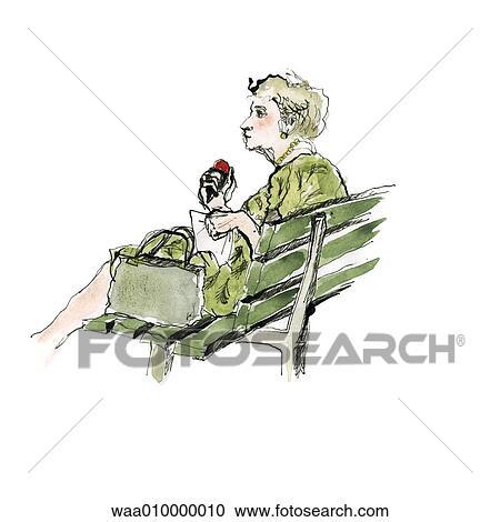Stock Illustration of drawing, glances, glance, break, benches ...