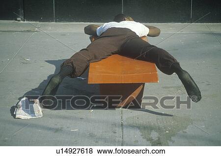 Homeless Black Man Clipart Picture - homeless black man sleeping on a park bench.
