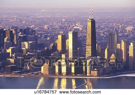 Picture of The Chicago Skyline at Sunrise, Chicago, Illinois ...