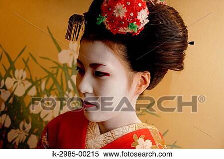 Banque D Image Geisha Dans Traditionnel Maquillage Et