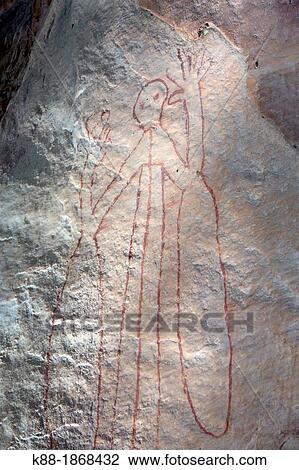 Aboriginal Rock Art Depicitng Mimi Spirits Kakadu National Park