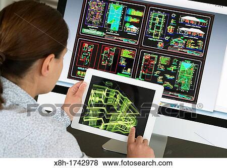 Architecte Utilisation Ipad Cao Conception Assistée Ordinateur Application à Modèle 3d Disposition Conception De Nouvelle Maison Banque