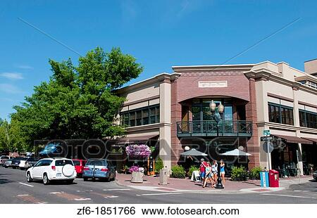 stock images of bend oregon downtown city center on bond street