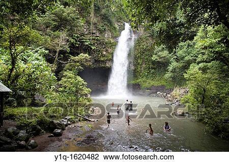 Bouma Falls Island Of Taveuni Fiji Melanesia South Pacific Stock Image