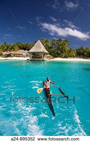 Canoe Matira Bora Bora Island Society Islands French