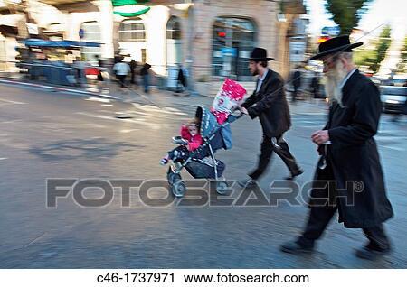 Archivio fotografico - ebrei ortodossi, mea, shearim, quarto
