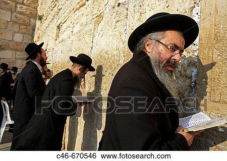 Ebrei ortodossi, pregare, vicino, il, muro del pianto,? western, wall?,  jerusalem , israele Archivio fotografico